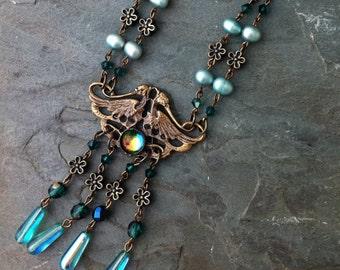 SALE 50% off - Long Bohemian Glass Beaded Necklace, Art Nouveau Style, Long Chain Necklace, Flapper Necklace, Aqua Blue and Mint Green