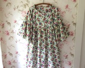 OOAK Cotton Duster Dress Pink and Gray Roses Flutter Sleeves 50's Vintage Cotton Ready To Ship 52 Bust