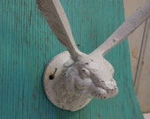 Rabbit Hare hook Hanger Cast iron long eared  White Bunny Wall hardware Supplies