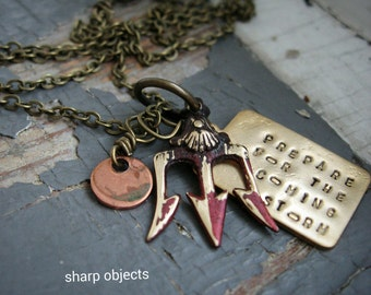 Prepare for the Coming Storm - stamped tag, metalwork triton, weapon, copper metalwork charm, chain necklace