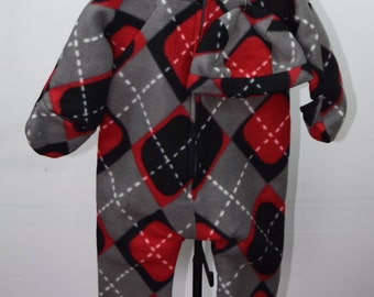 Baby Bunting with hat in Argyle in Grey, Red, and Black print fleece outerwear
