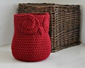 Red Owl Basket Crocheted Bin Yarn Holder Nursery Decor Home Organizer Custom Colors