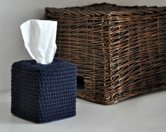 Modern Square Tissue Box Cover Nursery Decoration Nautical Home Decor Navy Blue Kleenex Box Cover