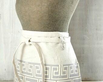 Lavender Gray Half Apron - Heather Greek Key Apron - Women's Half Apron with Pockets - Teacher - Vendor - Waitress - Limited Availability!