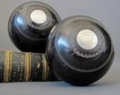 Antique Presentation Lawn Bowls from Scotland - Engraved Silver Plaque Lignum Vitae Lawn Bowls 1876
