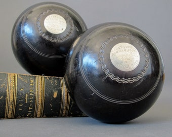 Antique Silver Presentation Lawn Bowls from Scotland - Engraved Silver Plaque Lignum Vitae Lawn Bowls 1876