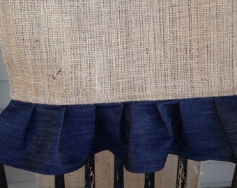 Burlap and Denim, Pleated Table Runner, 14 x 60 inches, best for 4 ft table
