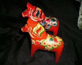 Vintage Swedish Folk Art Akta Dalahemslojd Nils Olsson Wood Carved Hand Painted Dala horses Pr. Fabulous Christmas Decor.