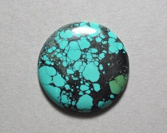 TURQUOISE cabochon round disc 32mm blue green designer cab