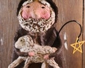 Primitive SHEPHERD with lamb, OOAK, hand-sculpted from papier mache ,Nativity Shepherd