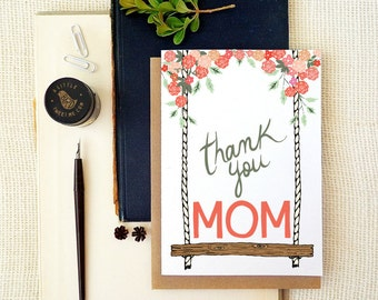 To my Mom on my wedding day Card. Thank you Mom Card. Floral Swing Card. SM185