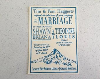 Letterpress Wedding Invitations - Mountain