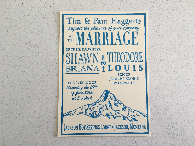 Contemporary Letterpress Wedding Invitations Etsy Pattern ...
