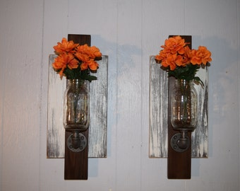 Mason Jar Wall Sconce Pair, Rustic Wall Sconce Set, Rustic Vase, Wall Vase, Mason Jar Vase