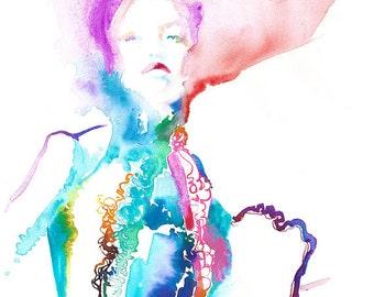 Original Painting, Original Watercolor Fashion,  Watercolor Fashion Illustration, Cate Parr, Modelink 70's, Fashion Illustration, Fashion