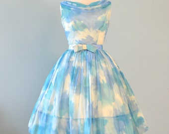 Vintage 1960s Party Dress...Darling Watercolor Print Chiffon Party Dress
