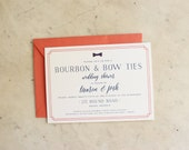 party, wedding shower or baby shower invitation - bourbon and bow ties