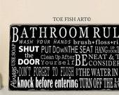 BATHROOM RULES Wall Art Wood Sign Washroom Decor