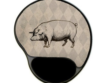 Pig Mousepad with wrist rest, hog mousepad, mouse pad, gel mousepad, office decor, office accessory, desk accessory, coworker gift