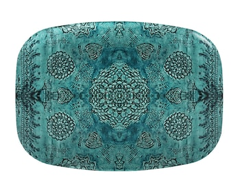 Bohemian dinner platter, teal serving platter, boho serving dish, art reproduction, hostess gift, wedding gift, couples gift, melamine dish