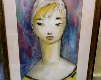 Modernist Abstract Watercolor Painting Art / Water Color on Paper 1959 / Portrait