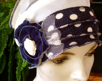 Womens chemo hat winter  Hat soft Chemo Flapper Navy Cream Spotted Hat with Flower Chemotherapy headwear