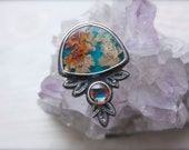 RESERVED... Regency Rose Plume Agate, Turquoise, Mystic Topaz, Sterling Cocktail Ring...Size 7.75, Size 8... The Calling Sea- Sunset...