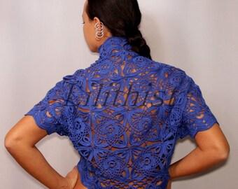 Blue Lace Bolero Crochet Shrug, Linen Cover Up, Wedding Bridal Shrug Bolero, Boho Lace Jacket, Lace Cape, Cobalt Blue Crochet Cardigan S-M-L