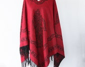 Bohemian cape Dark red poncho Autumn fall fashion Boho chic poncho Double sided Native cape Women clothings Hippie outerwear Winter poncho