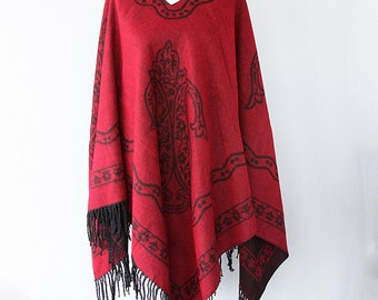Bohemian cape Dark red poncho Autumn fall fashion Boho chic poncho Double sided Native cape Women clothings Hippie outerwear Winter poncho