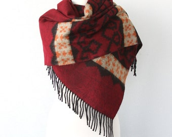 Burgundy blanket scarf Large winter shawl Boho chic scarf Aztec Winter wrap Tribal native pattern Large hippie scarf Geometric wrap