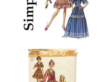 Vintage 1970 Simplicity 8875, Misses Bohemian Dress, Misses Waist Cincher, Misses Size 14, Sewing Pattern, Vintage Pattern, Retro Pattern