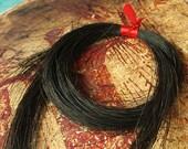 "Black Horse Hair ... Natural Hair for weaving, bracelets, charms - 12 gram bundles, 26-28"" long -HH-BLK"