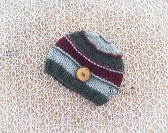 Knit Baby Boy Button Beanie, 8 colors, Newborn Boy Knit Hat, Knit Beanie, Striped Baby Hat, Knit Newborn Hat, Newborn Baby Boy Photo Prop