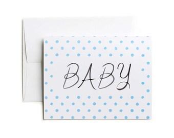 New Baby Card, Baby Boy Card, Baby Card, Baby Congratulations Card - Blue Dots