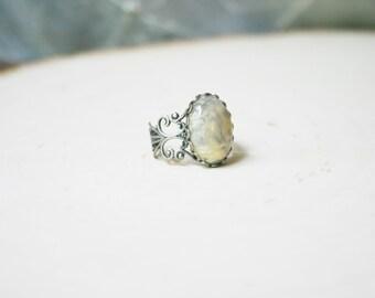 Crazy Lace Agate Ring Yellow Stone Ring Antique Filigree Yellow Gemstone Chrysanthemum Ring Brown Gemstone Ring Brown Stone Ring