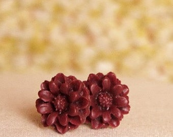 Handmade Earrings Burgundy Post Earrings Burgundy Flower Earrings Maroon Flower Posts Burgundy Earrings Burgundy Flower Post