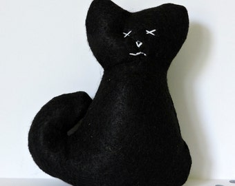 Durable Black Cat Dog Toy With/Without Squeaker - Medium Size - Canvas/Felt Cat Dog Toy - Squeaky/Non Squeaky Plush Cat - Hand Stitched