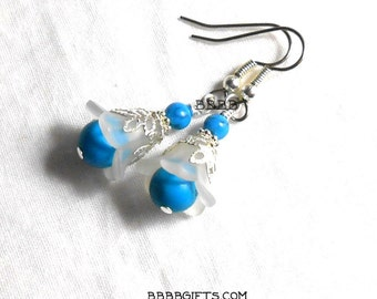 Blue White Flower Earrings Acrylic Tulip Bright Silver Leaf Foilage Surgical Steel French Hooks Turquoise Magnesite Howlite Gemstone Beads