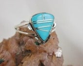 Native American Zuni Turquoise Sterling Silver Ring