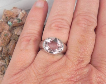 Pink Glass and Sterling Silver Ladies Ring