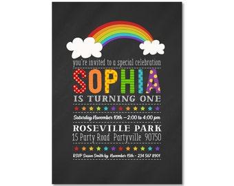 Rainbow Birthday Invitation, 1st Birthday, Rainbow Birthday Invitation,  Girl Birthday Invitation, Rainbow Birthday 1080