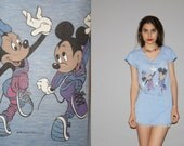 Vintage 80s Mickey Mouse and Minnie Mouse Paper thin Heather Gym Blue V Neck T Shirt Dress - 50/50 Cotton Poly -  WT0460