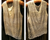 1920s Beaded Flapper Tunic. Pale Lemon and Cream bands with Silver beadwork. Larger Size. 20s. Jazz Age. Art Deco.