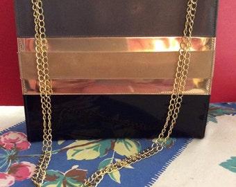 Vintage 1960s Patent Leather Handbag Chain Handle Naturalizer Label Grey Black Tan Gold
