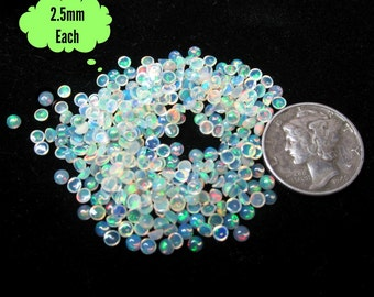 Loose Opals 2.5mm Natural Welo Opal Cabochons Lot of 5