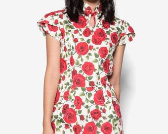 Short Sleeve Qipao, Roses Qipao, Modern Cheongsam, Petal Sleeve Dress, Cheongsam Dress, Yellow Cheongsam, Cotton Cheongsam Dress, Qipao