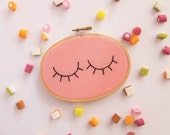 Eyelashes Hand Embroidery Hoop Art