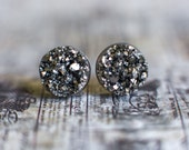 Silver Faux Druzy Earrings Studs. Stocking Stuffer, Teen Gift, Simple, Resin, Bridal, Gemstone Drusy, Statement Accessory Christmas - F3d