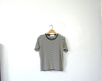 Vintage 90's black and white striped shirt, striped top, size medium
